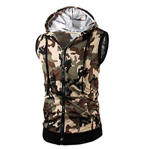 Amlaiworld Sommer-Tarnungs-Kapuzen-Weste-T-Shirt Oberseite für Mann, modernes und kühles Sleeveless T-Shirt (L, Grün) (Klassischen, Nicht-eisen-shirt)