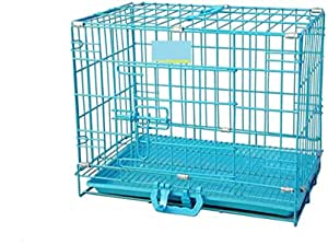 Single Door Folding Metal cage with Removable Tray and paw Protector for Dogs,Cats and Rabbits 18 inch - Central Fish Aquarium (Blue)