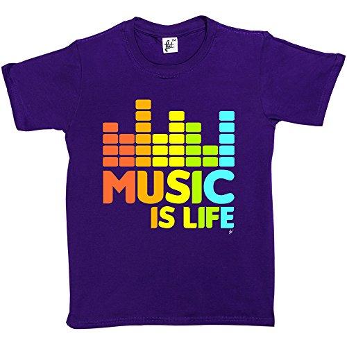 Fancy A Snuggle Music Is Life Hip Hop Dance Grunge Garage Rock Kids Boys / Girls T-Shirt (Size - 12-14 Year Old, Colour - Purple)