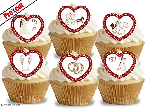 Wedding cupcake toppers amazon pre cut vintage wedding hearts edible rice wafer paper cupcake cake toppers party decorations junglespirit Image collections