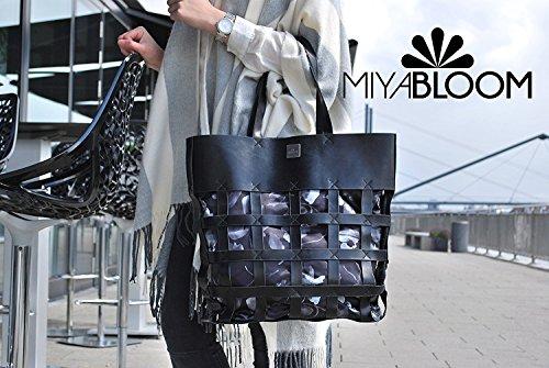 MIYA BLOOM, Damen Handtaschen, Schultertaschen, Umhängetaschen, Shopper, XXL-Shopper, 45 x 41 x 5,5 cm (B x H x T), Farbe:Grau Schwarz