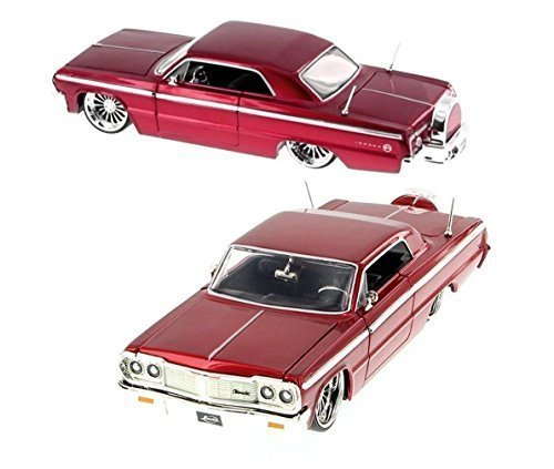 new-124-display-1964-red-chevrolet-impala-with-low-rider-wheels-diecast-model-car-by-jada-toys-by-ja
