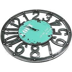 Gazechimp Reloj de Madera Pared Decoración Estilo Antiguo vintage 3D Regalo para Comedores Salas de Estar Habitaciones Familiares Dormitorios - Azul