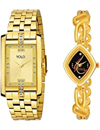 Yolo Quartz Allure Analog Golden Men's & Women's Couple Watches | Couple Watches Set