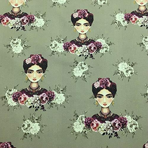 Tela por metros de loneta estampada digital - Half Panamá 100% algodón - Ancho 280 cm - Largo a elección de 50 en 50 cm | Frida Kahlo, verde