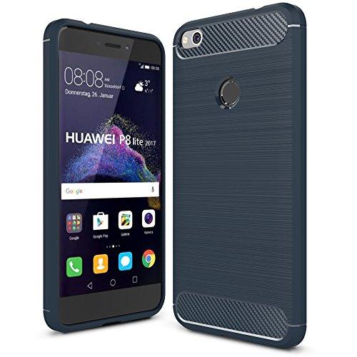 Funda Huawei P8 Lite 2017 - IVSO Slim Armor Silicio Cover Funda Protectora de Carcasa Funda para Huawei P8 Lite 2017 Smartphone (Armada)