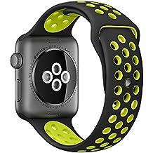 Apple Watch Correa Pinhen Flexible y transpirable Silicona Suave Reemplazo de Banda Sport Band para Apple Watch Series 2 (42MM Green)