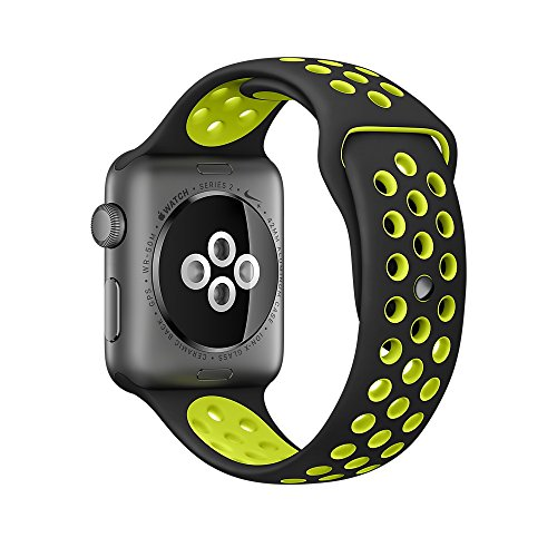 Apple Watch Correa Pinhen Flexible y transpirable Silicona Suave Reemplazo de Banda Sport Band para Apple Watch Series 2 (42MM Green)