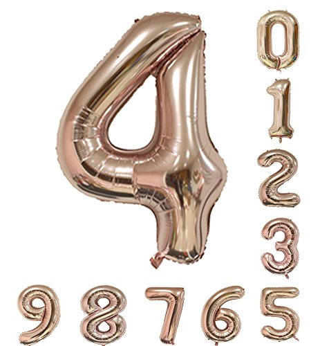 Amooy DiZi Zahlen Ballon Große Number Roségold 40