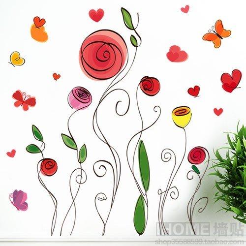 Hongrun parete amovibile decalcomanie román, soggiorno, camera da letto divano tv linea costeggiando la parete di sfondo fiori adesivo 78*68cm