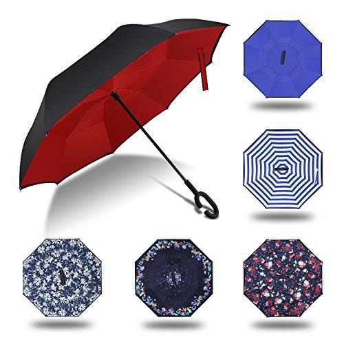 HISEASUN Parapluie Double Couche Inversée Avec en Forme de C Résistant au vent et Imperméable à l'eau Ombrelle Umbrella Parasol Ombrager Bumbershoot I...