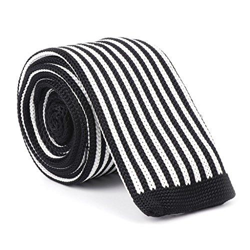 Fogun Neue Männer Gestrickte Krawatte Woven Skinny Schwarz Weiß Slim Krawatte Schmale Streifen Mode (3#) (Polyester Tie Woven 2)