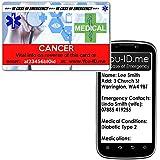 Medizinischer Ausweis für Krebspatienten ICE Notfall-Geldbörse aus Kunststoff, Kreditkartengröße Medizinischer Alert Service mit Silberplan. Notfallkontakt/Next of Kin, Medikamente