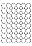 240 Etiketten selbstklebend rund 30 mm weiß permanent klebend auf Bogen A4 (5 Bögen x 48 Etik.)