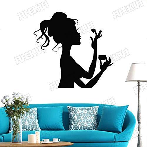yaoxingfu Mode Mädchen Mit Make-Up Entfernbare Wandaufkleber Für Wohnzimmer Schönheitssalon Kunst Decor Vinyl Wandtattoos Windows Murals schwarz 44X42 cm -