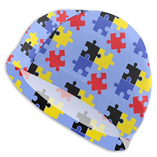 KIMIOE Schwimmhaube Badekappe Funny Swim Cap Waterproof Long Hair Swimming Caps Black Yellow Blue Red Puzzle Printed 3D Ergonomic Designd -