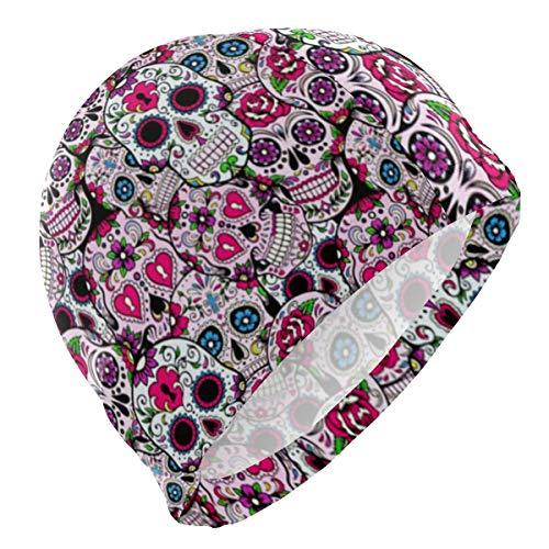 kappe Sugar Skull Mexcian Tradition Lycra Swim Cap Swimming for Women Men ()
