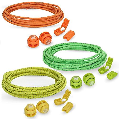 Bearformance Schnürsenkel mit Schnellverschluss Elastische Sportschnürsenkel - Schnellschnürsystem schleifenlos ohne binden (3er Set: Orange, Grün, Gelb)