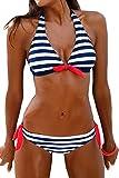 Bettydom Femme Maillot de Bain Deux Pieces Bikini a Rayures Halterneck Ete(X-Large, 1-Bleu Blanc Rayure)