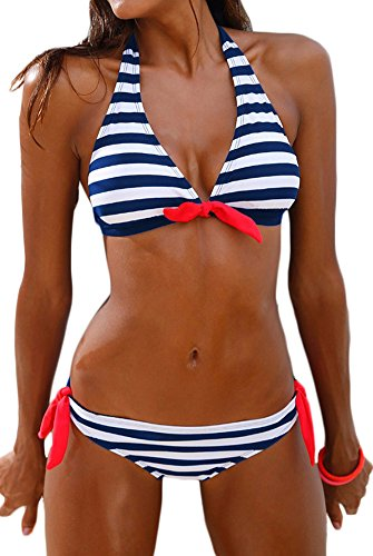 Bettydom Femme Maillot de Bain Deux Pieces Bikini a Rayures Halterneck Ete(Medium, 1-Bleu Blanc Rayure)