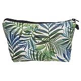 TLfyajJ Sacchetto di immagazzinaggio del sacchetto cosmetico della foglia di palma verde stampato digitale 3D verde 1