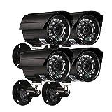 Festnight Bullet Überwachungskamera Kit, 4 * 1080P AHD IR Wasserdicht CCTV Aufzählungskamera + 4 * 60 ft Überwachungskabel
