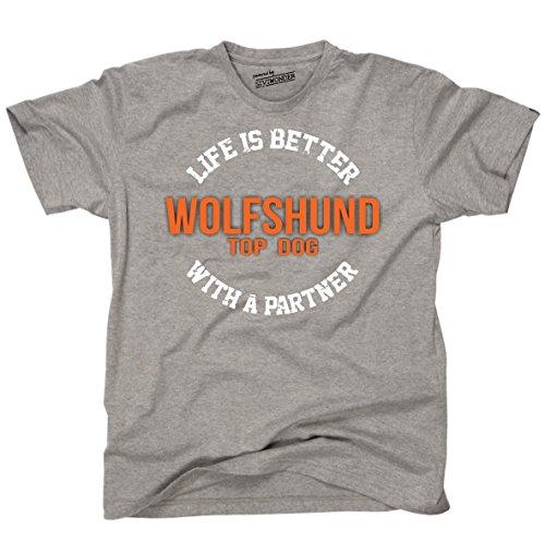 Siviwonder Unisex T-Shirt WOLFSHUND WOLF - LIFE IS BETTER PARTNER Hunde Sports Grey