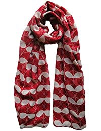 Leaf Floral Design Scarf in Red Ladies Fashion Scarves