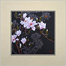 King Silk Art 100% Handmade Embroidery Multiple Unframed 30x30 cm Love Beautiful Magnolia Blossom Oriental Wall Hanging Art Asian Decoration Tapestry Artwork Picture Gifts 36063U_36082W