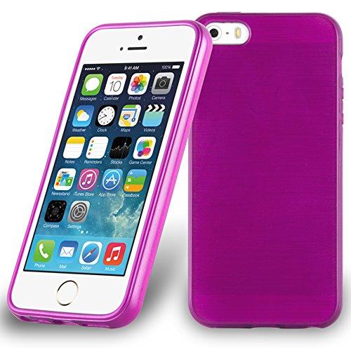 Cadorabo - Etui Housse Gel (silicone) pour Apple iPhone 5 / 5S Design: METAL BROSSÉ (brushed cover) - Etui Coque Case Cover Bumper en NOIR DE JAIS ROSE-VIF