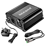 Neewer 1-Channel 48V Phantom Power Supply Black with Adapter and One XLR Audio Cable for Any Condenser Microphone Music Recording Equipment