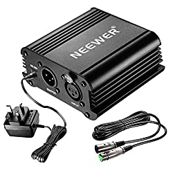 Neewer 1-channel 48v Phantom Power Supply Black With Adapter & One Xlr Audio Cable For Any Condenser Microphone Music Recording Equipment