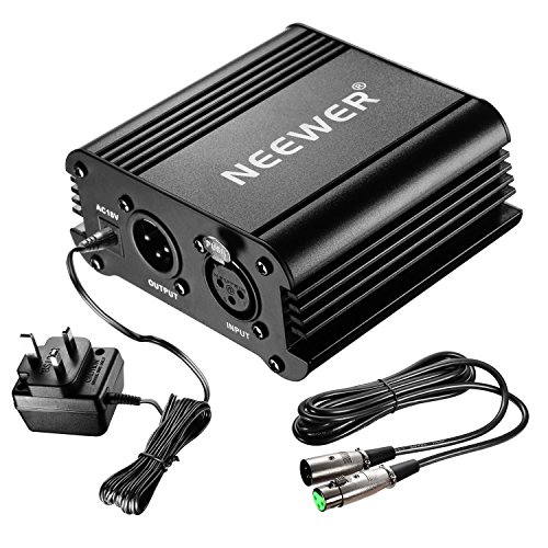 neewer-1-channel-48v-phantom-power-supply-black-with-adapter-and-one-xlr-audio-cable-for-any-condens