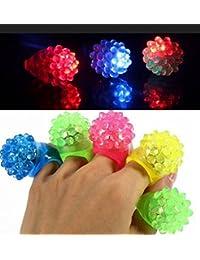 Kingken 12 anillos de silicona con forma de fresa con lámpara luminosa (color al azar)