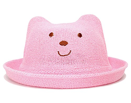 Roffatide Kinder Süßer Bär Stickerei Eimer Hut Jungen Mädchen Sonnenhut Strohhut Rosa