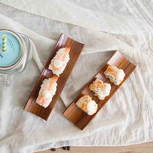 In legno gnocchi sushi vassoio rettangolare piastra insalata pane piatti rettangolari breve dish spuntino vassoio frutta secca vassoio, brown, taglia unica