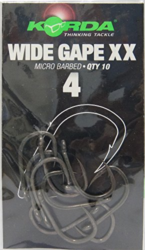 Korda Wide Gape XX Karpfenhaken (10 Stück), Angelhaken zum Karpfenangeln, Haken zum Karpfenfischen, Haken für Karpfen, Größe:4