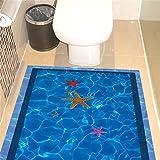 ZLYAYA Tapete,Wandtapete,Wand Dekoration,wandsticker,3D-Wand Aufkleber Bad Badezimmer Fliesen Bodenbeläge Wanddekoration Blue Pool Pool 3D Pool