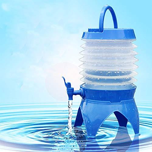 KINJOHI Telescopic Folding Bucket Outdoor Camping Drinking Bucket Plastic Ultra Light Portable Multi-Function Water Dispenser wild Water (Blue) -