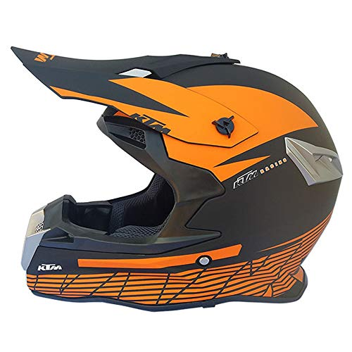 MRDEAR Casco Moto Cross Nero e Arancio, Casco Motocross Uomo, Adulto Casco MTB Integrale off-Road Downhill Race ATV Scooter, Certificazione DOT,XL