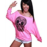 Xinantime Skull Printing Off Shoulder Long-sleeve Loose T-shirt