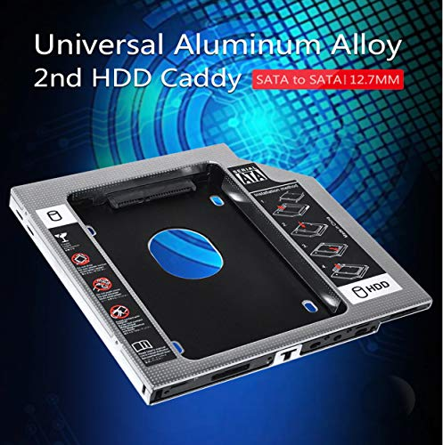TULMAN Optical SATA 2nd Bay 2.5inch Hard Drive HDD SDD Caddy for 12.7 mm Universal CD/DVD-ROM