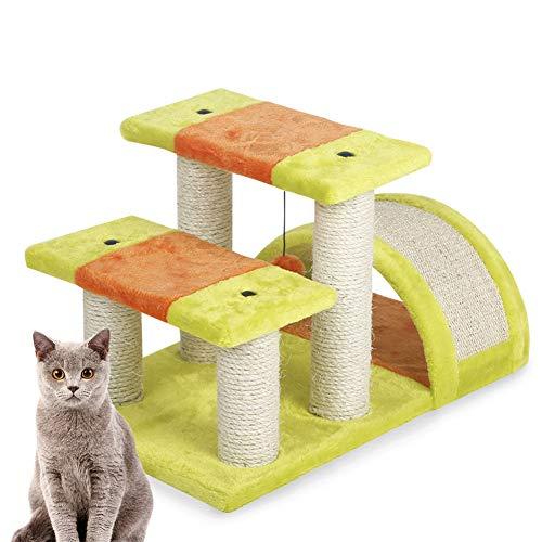 ZZQ Kratzbäume Kratzbäume mit Sisalüberzug Gepolsterte Eigentumswohnungsoberseite Perch Playhouse Cat Tower Möbel Filzoberfläche -