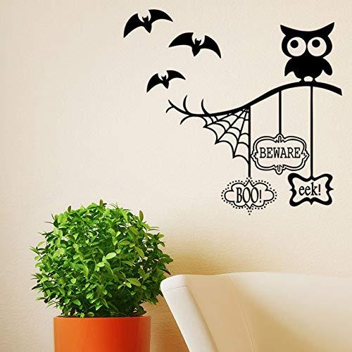 Cartoon Eule Auf Baum Zweigen Wandaufkleber Halloween Für Kinder Babys Infant Room Decor Fledermäuse Fliegen Spinne Wandbild Poster Kunst (Machen Sie Halloween-spinne Großen Einen)