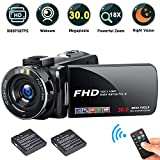 """FHD Video Camera Recorder, 1080P 30.0 Mega Pixels High Definition Camcorder, 18X Digital Zoom 3.0"""" IPS Screen for YouTube Vlogging Camera(2 Batteries included)"""