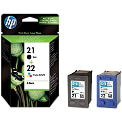 HP 21-22 - Pack de ahorro de 2 cartuchos de tinta Original HP 21 Negro, HP 22 Tricolor para HP OfficeJet 4315, 4355, K3680 HP PSC 1402, 1410, 1415, 1417 HP Fax 3180