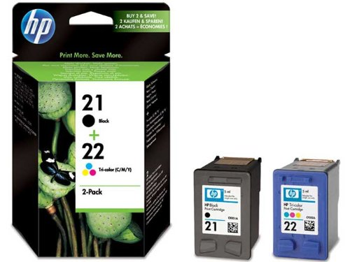 HP 21 - 2er-Pack, 1 Schwarz/22  und 1 dreifarbig, Original Tintenpatrone