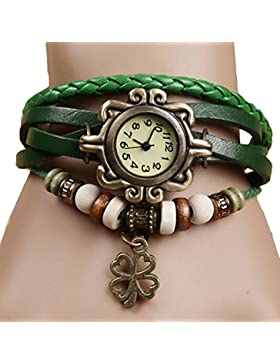 Da.Wa el Reloj de Pulsera Brazalete Mujer Cuarzo Reloj de Pulsera del Retro del Trébol de Cuatro Hojas
