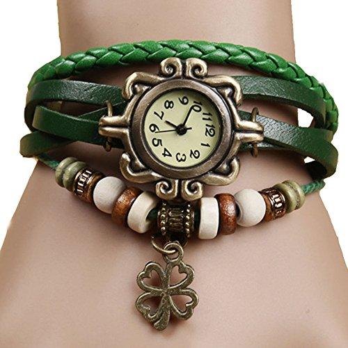 Demarkt Retro Vintage Klee Design Damen Armbanduhr Armreif Uhr Anhänger Spangenuhr Quarzuhren (Grün) - 2