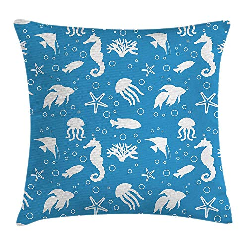 VTXWL Animal Throw Pillow Cushion Cover, Mix of Seahorses Pipefishes and Others Swimming Diving Deep Zone Summertime, Decorative Square Accent Pillow Case, 18 X 18 inches, Turquoise White